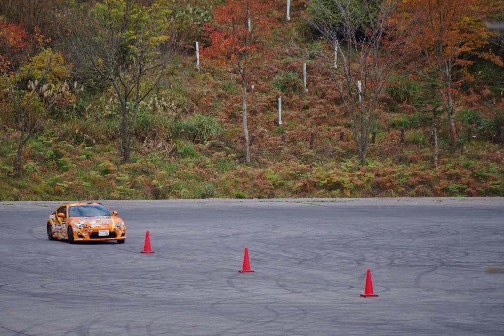 紅葉の中のジムカーナ、大迫力で近くで撮れませんでした。
